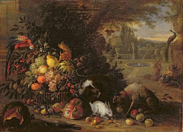 Still Life in a Garden, c.1700 (oil on panel)