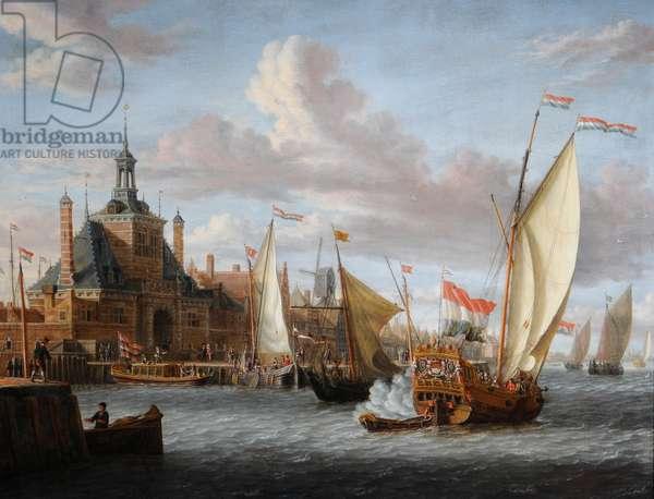 A Zeeland States Yacht Firing a Salute off the Dude Hoofdpoort, Rotterdam (oil on canvas)