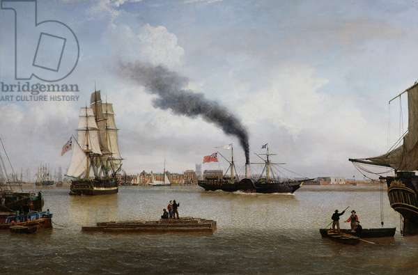 S.S. Forfarshire Leaving Hull on her Last Voyage (oil on canvas)