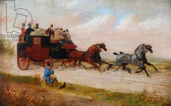 Leeds Royal Mail Coach, c.1875 (oil on canvas)