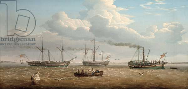 Three Paddle-Steamers, 'Kingston', 'Prince Frederick' and 'Calder' of Selby in Hull Roads, c.1823 (oil on canvas)