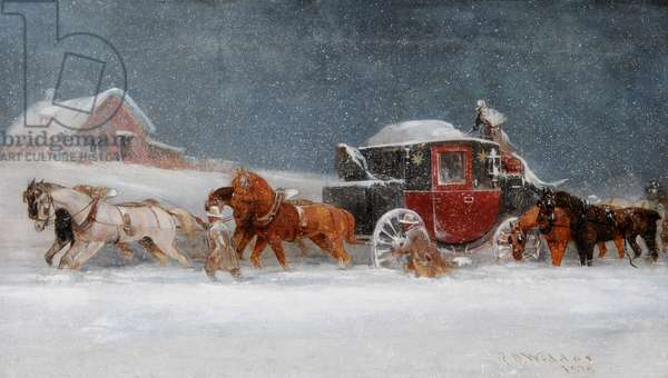 Coach in a Snowstorm, 1875 (oil on canvas)