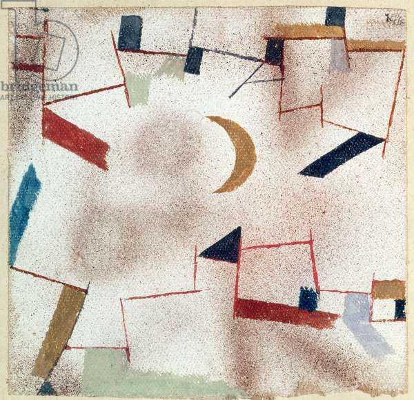 Abstract with crescent moon, 1919 (no 47) (w/c on primed linen on paper on cardboard)