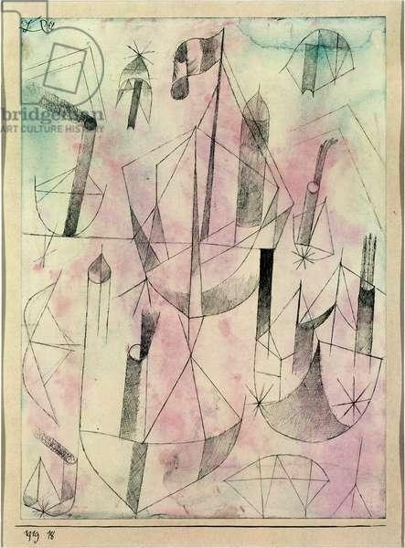 Little steamboat fantasy, 1919 (no 18) (pen on paper on cardboard)
