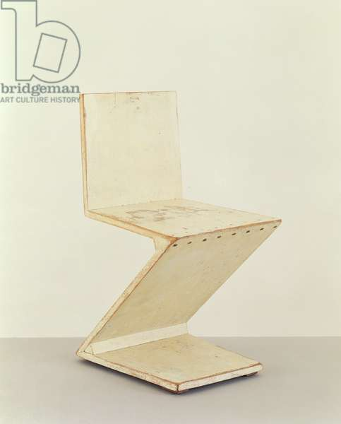 'Zig Zag' Chair, 1934 (elm, painted white)