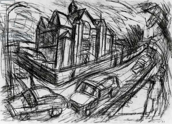 School Building, Willesden, 1980 (charcoal on paper) (b/w photo)