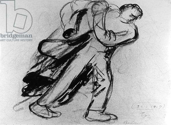 Man putting on his coat, 1909 (ink and pencil on paper) (b/w photo)