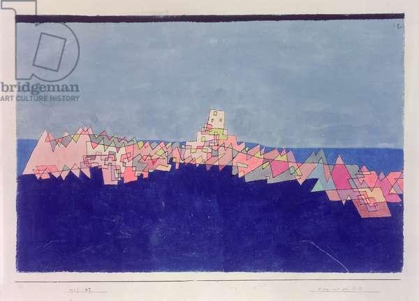 Castle on the reef, 1927 (no 237) (w/c & pen on paper on cardboard)