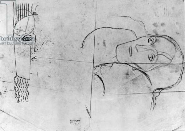 Studies for Ver Sacrum 1900 - Pallas Athene and a Tragic Head, 1897-98 (pencil and blue crayon on tracing paper) (b/w photo)