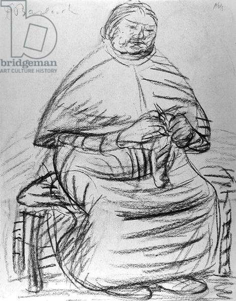 Old woman knitting (charcoal on paper) (b/w photo)