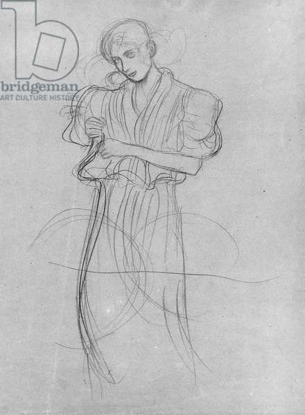 Standing Robed Woman, 1903 (pencil on paper) (b/w photo)