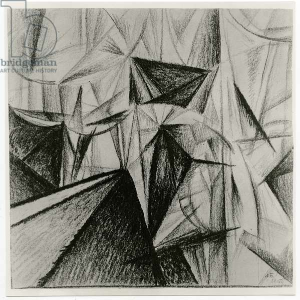 Rayonnist Composition (Rhythmic Composition), 1915 (charcoal on paper) (b/w photo)