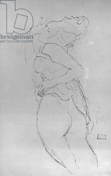 Young Woman, 1917 (pencil on paper) (b/w photo)