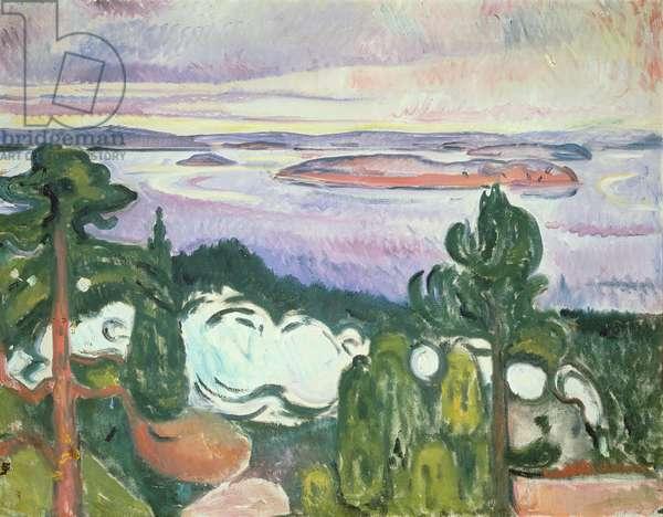 Oslofijord - Northern Beach (Landscape with Railway, Train, Smoke) 1910 (oil on canvas)