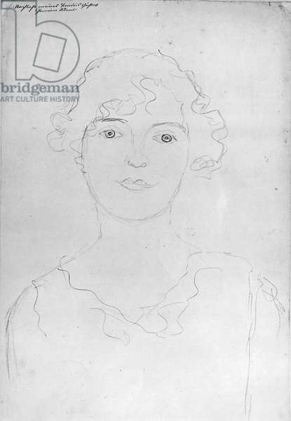 Portrait of a Woman, 1916 (pencil on paper) (b/w photo)