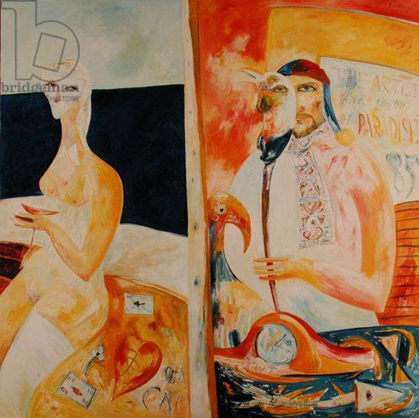 The Artist Holds the Bird of Paradise, 1985 (oil on canvas)