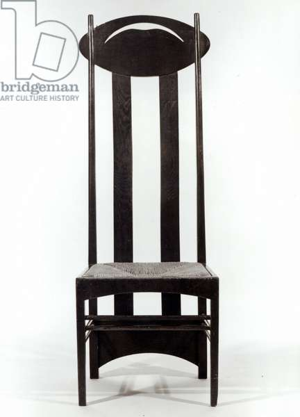 High backed chair, c.1897 (dark stained oak with rush seat & pierced oval back rails) (b/w photo)