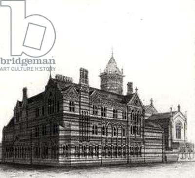 New Schools, Rugby - View from the North West, 1867-84 (watercolour and pencil on paper) (b/w photo)