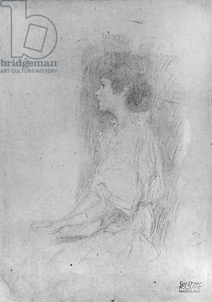 Seated Girl in Shadow (pencil on paper) (b/w photo)