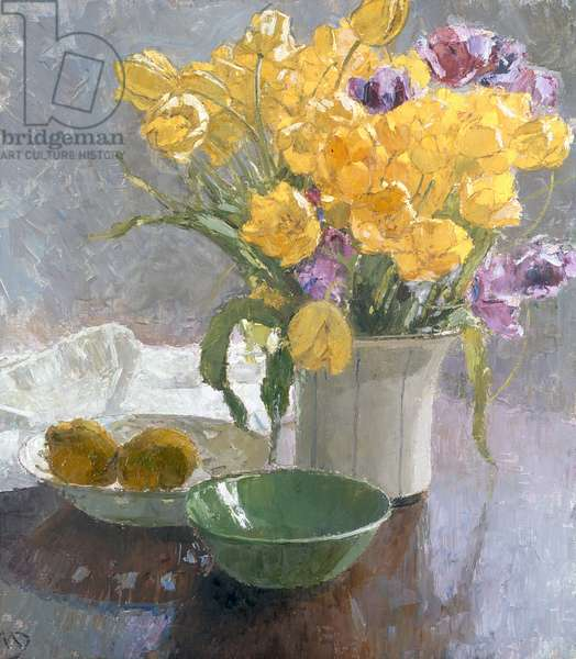 Still Life with Yellow Tulips (oil on canvas)
