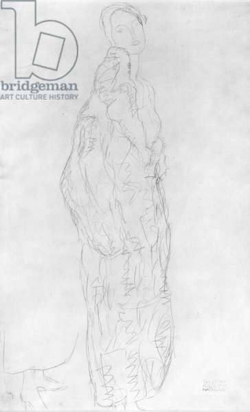 Robed Standing Lady, c.1916 (pencil on paper) (b/w photo)