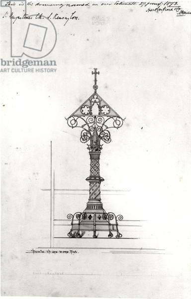 Design for a Lectern, St Augustine's, South Kensington, 1873 (black ink and watercolour) (b/w photo)