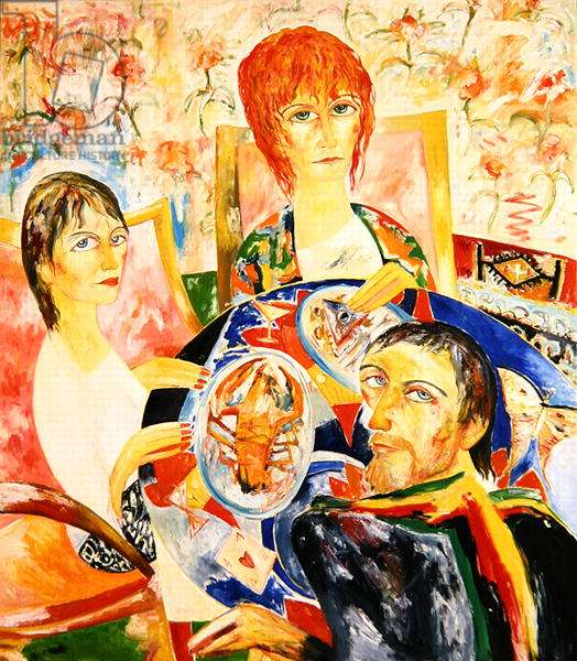 Dinner with Edna O'Brien, 1989 (oil on canvas)