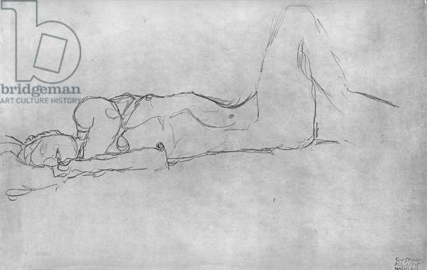 Reclining Female Nude, c.1914 (pencil on paper) (b/w photo)