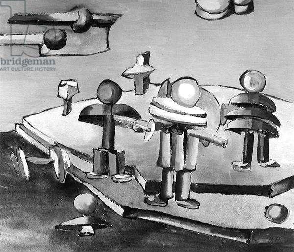 Bauhaus figures, 1921 (w/c on paper) (b/w photo)