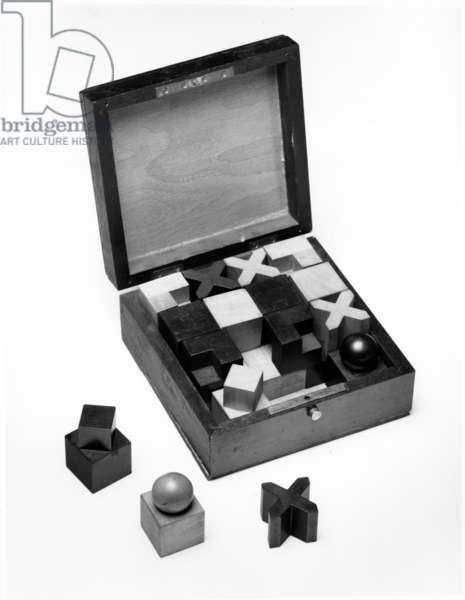 Chess Set, 1924 (wood) (b/w photo)