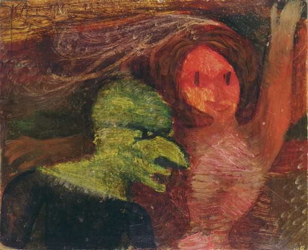 Old and Young, 1913 (oil on card)