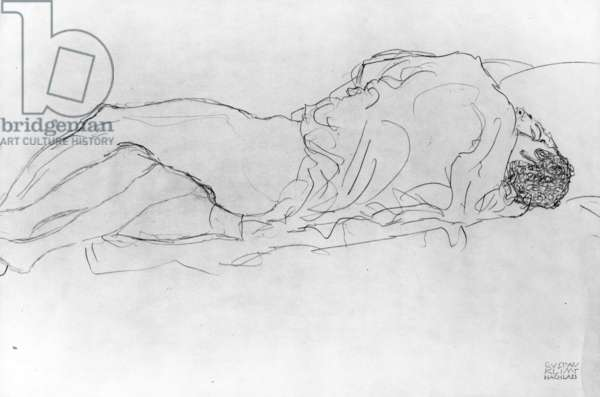 Couple in Bed, c.1915 (pencil on paper) (b/w photo)