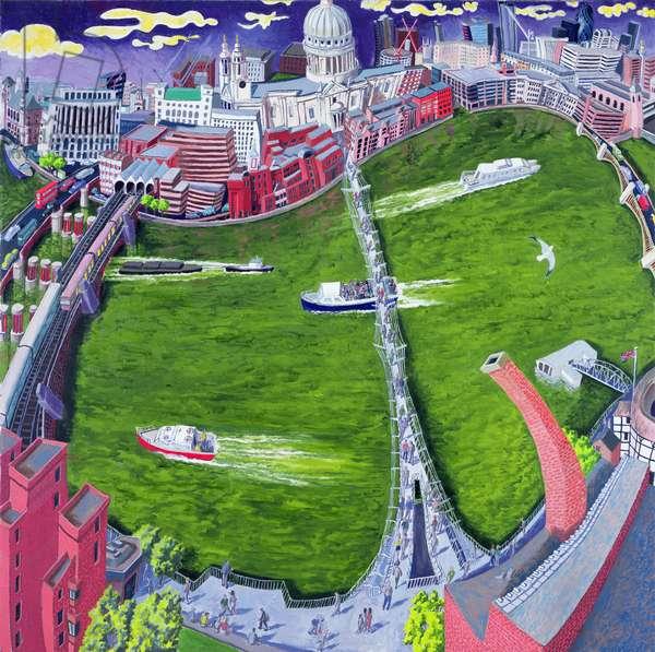 Millenium Bridge and Tate Modern, 2008 (oil on canvas)