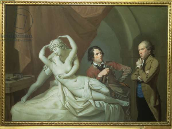 Antonio Canova (1757-1822) in his Studio with Henry Tresham (1751-1814) and a Plaster Model for the 'Cupid and Psyche', c.1788-89 (pastel on paper)