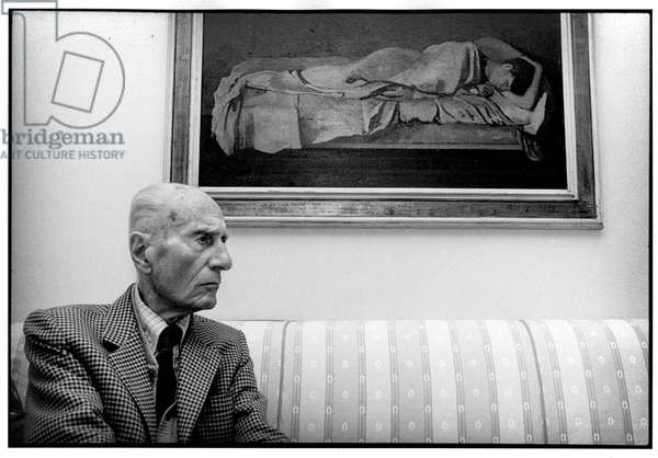 Indro Montanelli At home in Milan, November 1998.