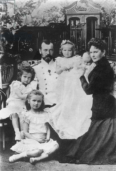 The Imperial Family of Tsar Nicholas II of Russia, 1901 (b/w photo)