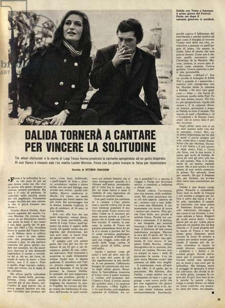 """Suicide of Luigi Tenco in January 1967: article on the attempted suicide of the Italian singer's companion Dalida (1933-1987). Published in the """""""" Domenica del Corriere """""""" on 19/03/1967."""