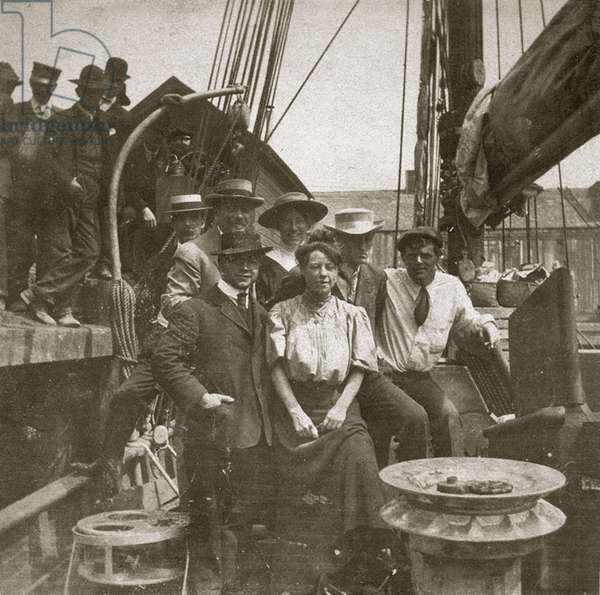 Jack London on board of the Snark, 1907 (b/w photo)