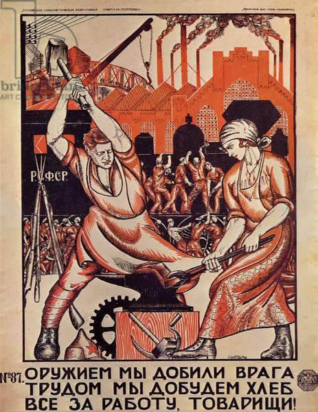 "Propaganda Poster: ""Revolution and Work"", 1920 (colour litho)"