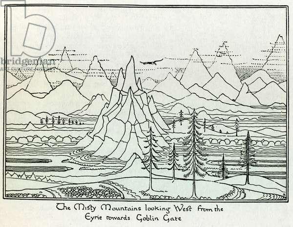 """The Misty Mountains"", illustration of a fantastic landscape, drawing by J. R. R. Tolkien (1892-1973) for the novel ""Le Hobbitt"", 1937. DR"