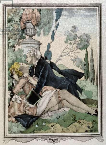 Casanova in a garden with a lady (engraving)