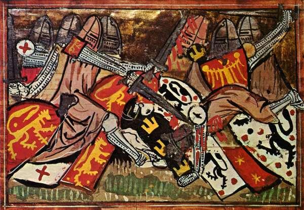 Crusade: Battle between Crusaders and Muslems, from the 'Roman de Godefroi de Bouillon'