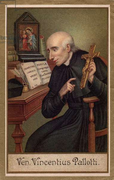 Vincent Pallotti (1795 -1850)  italian priest and founder of tcongregation of the Society of Catholic Apostolate, 1900 (chromolithograph)