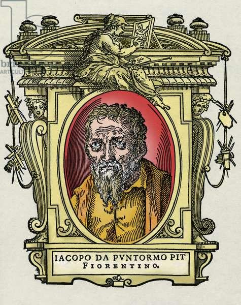 """Portrait of Jacopo (Iacopo) Carrucci said il Pontormo (Pontormo) (1494-1556) Italian painter. Engraving of the treat """""""" Lives of the most excellent painters, sculptors and architects """""""" (Le Vite de' piu eccellenti pittori, scultori e architettori) by Giorgio Vasari, 1550 and 1568"""
