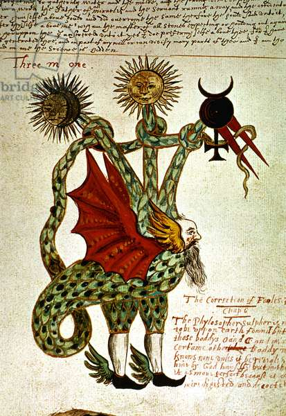 A three-armed dragon holding the alchemical symbols of Mercury, 16th century, Anonymous (miniature)