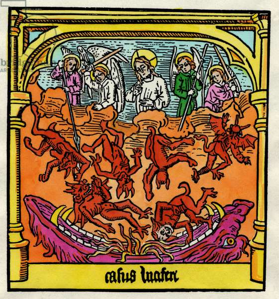 The Fall of Lucifer and the Rebel Angels, illustration from a copy of the 'Biblia Pauperum', 1470 (colour litho)