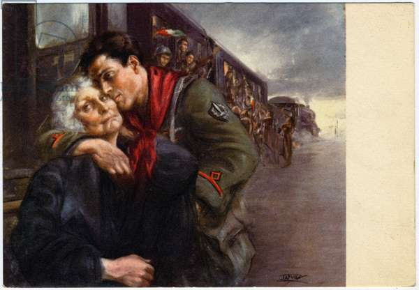 Spain: Civil War of 1938. Propaganda postcard published by the Italian Militia Office She celebrates the start of the Black Shirts for Italy. Illustration from a painting by Clemente Tafuri (1903-1971), 1935-1943 DR