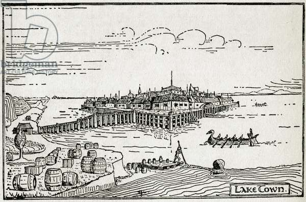 """""""Lake Town"""", drawing by J. R. R. Tolkien (1892-1973) for the novel """"Le Hobbitt"""", 1937. DR"""