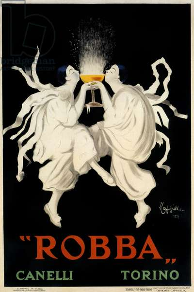 Poster advertising Spumante Robba Canelli, Turin, Italy, 1921