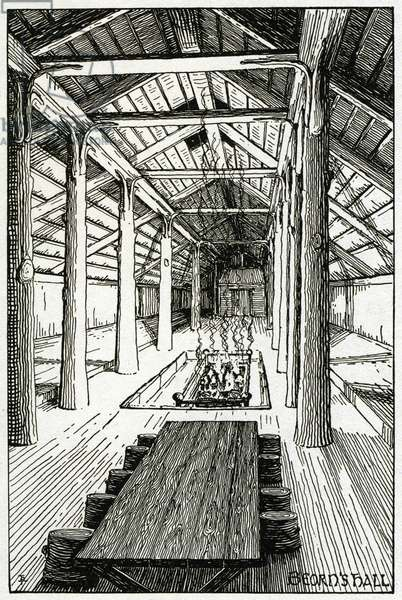 """""""Hall of the House Beorn"""" drawing for the novel """"The Hobbitt"""", 1937 (drawing)"""